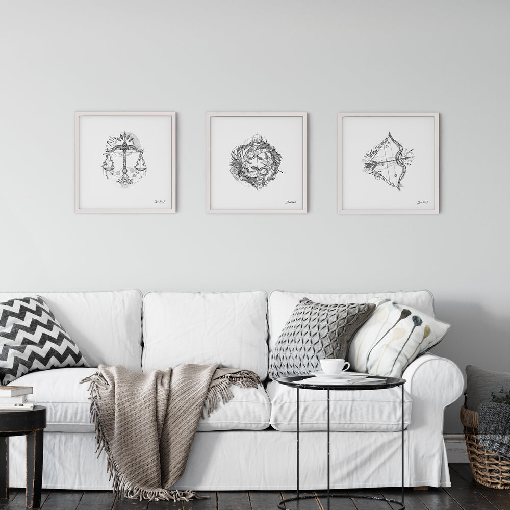 Libra Zodiac Sign line drawing print wall art by Deni Minar, thoughtful gift for everyone - room view