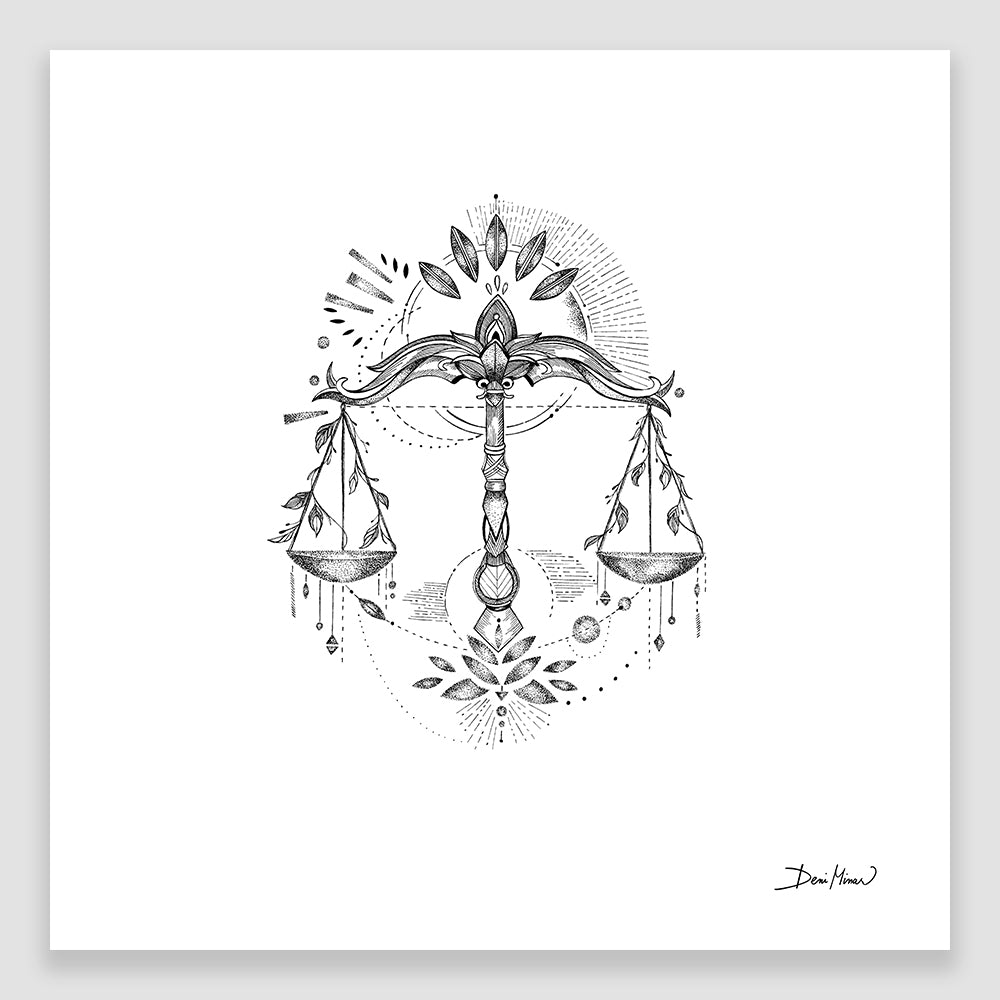 Libra Zodiac Sign line drawing print wall art by Deni Minar, thoughtful gift for everyone
