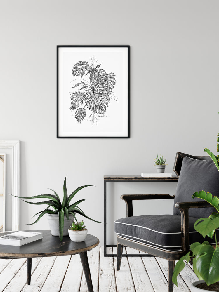 Monstera line drawing print wall art by Deni Minar for plant lovers