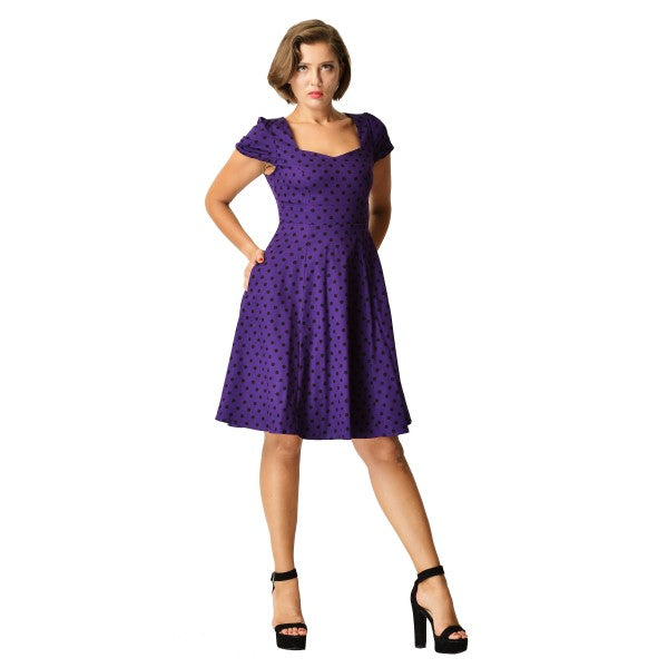Claudia Flirty Fifties Polka Dot Dress in Purple/Black