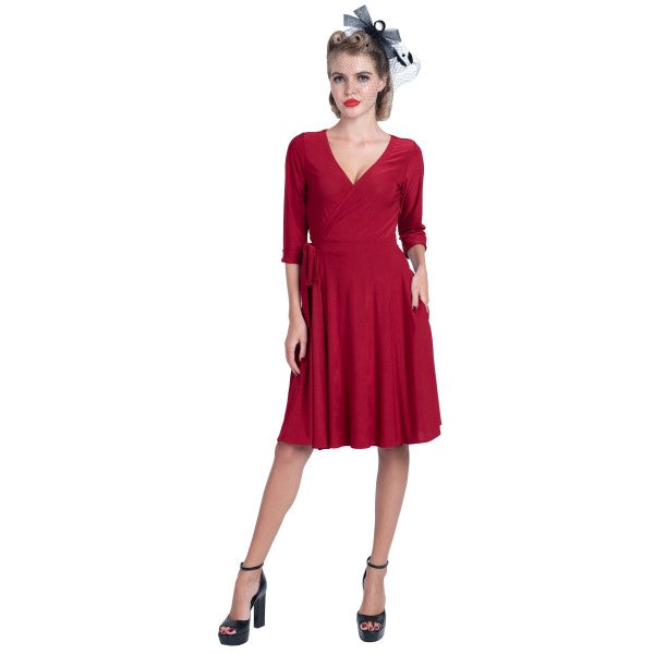 Kate Swing Wrap Dress With Three Quarter Sleeves in Burgundy - Super Comfy