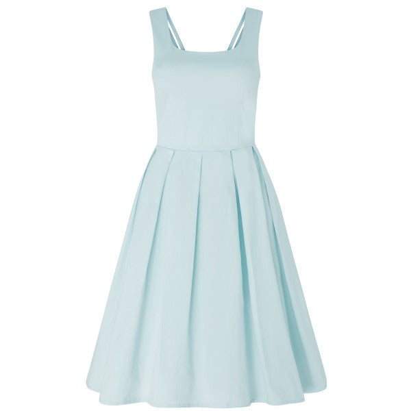 Patricia Classic Subtle-Yet-Sexy Flared Vintage Inspired Dress in Pale Blue with Delicate Straps at the Back