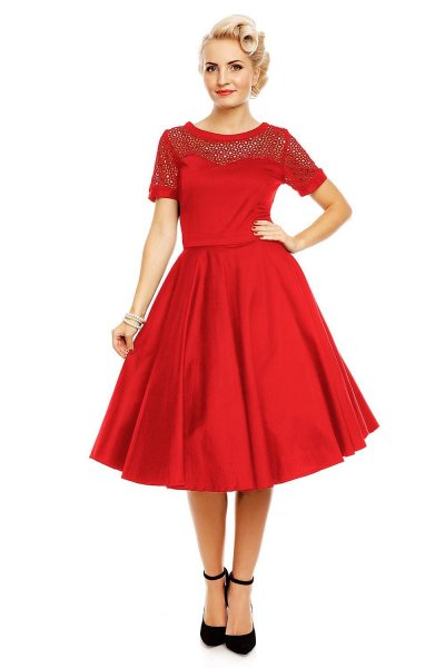 Tessa Lace Embroidered Sleeved Dress in Red
