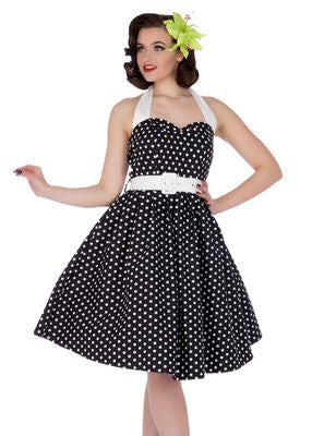 Sophie Two Toned Rockabilly 1950s Dress in Black/White Polka