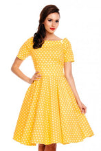 Load image into Gallery viewer, Darlene 1950's Style Swing Dress in Yellow Polka