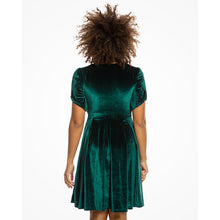 Load image into Gallery viewer, Carole Emerald Green Velvet Tea Dress
