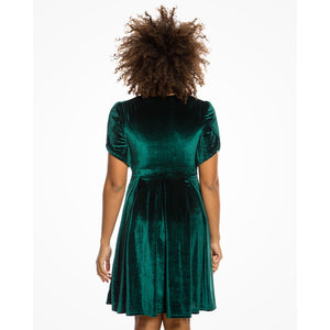 Carole Emerald Green Velvet Tea Dress
