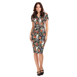 CATERINA FOREST FLORAL PENCIL DRESS