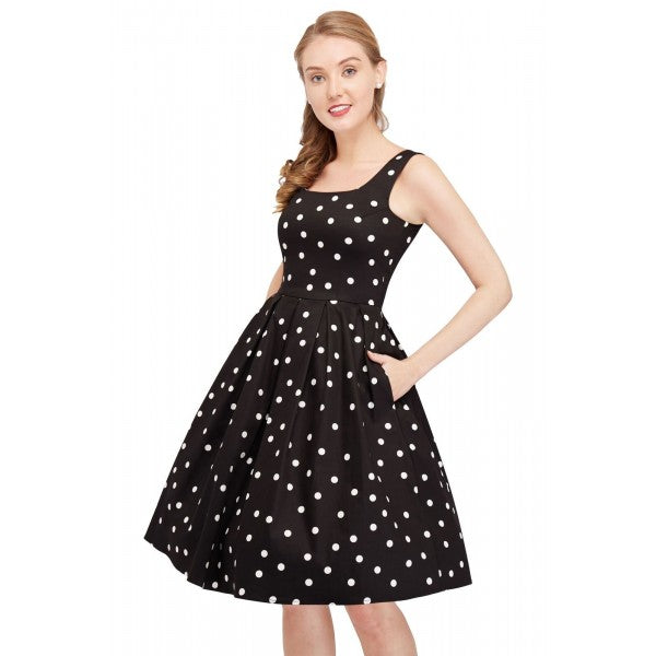 Amanda Scoop Neck Polka Dot Swing Dress in Black &White Crazy Dots
