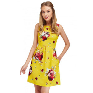 Joan Classic Floral Dress in Bright Saffron