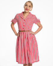 Load image into Gallery viewer, Claudine Red Gingham Swing Dress