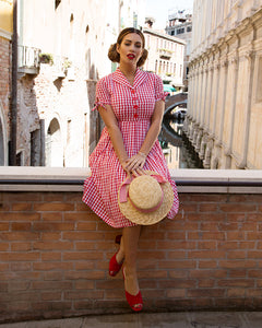 Claudine Red Gingham Swing Dress