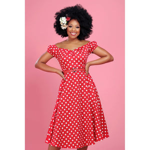 Dolores Doll Polka Dot Dress Red White