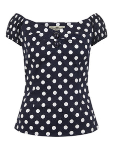 Dolores Top Polka Blue