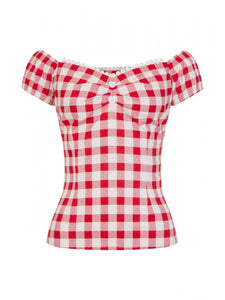 Dolores Gingham Top Red