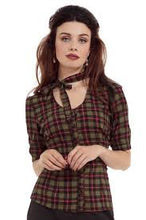 Load image into Gallery viewer, Mavis Plaid Chiffon Check Top Green