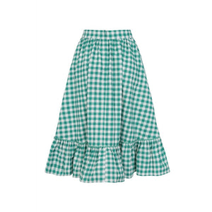 Katherine Gingham Swing Skirt Green