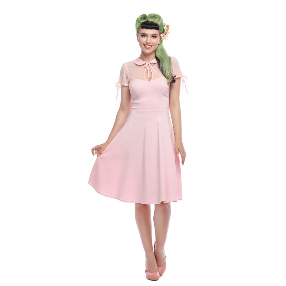 Kitten Plain Swing Dress in Pink