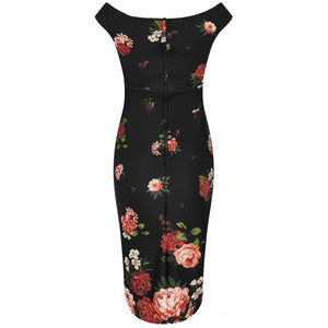 Isabella Step-In Tight Wiggle Dress - Black & Red, Pink Roses