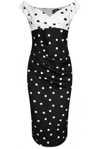 Isabella Off-the-shoulder Tight Dress White & Black Polka Dots
