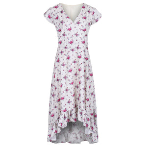 Laura Ivory Sketched Rose Tea Dress
