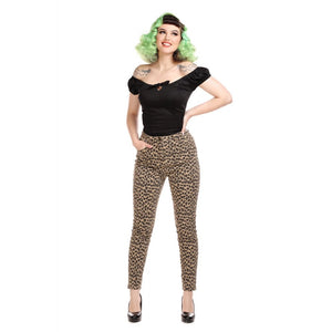 MADDY LEOPARD DENIM TROUSERS