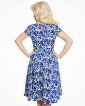 Load image into Gallery viewer, Magnolia Blue Watercolour Floral Swing Dress