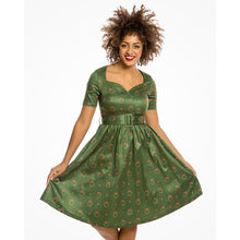 Load image into Gallery viewer, Maisey Delightful Sweetheart Neckline Swing Dress with Robin Print