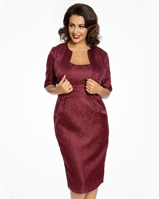 Marguerite Burgundy Twin Piece Dress