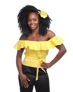 Marietta Plain Yellow Frill Top