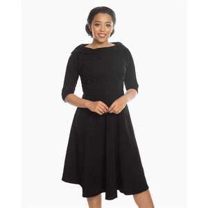 Marla Jet Black Midi Swing Dress
