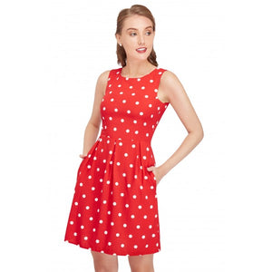 Joan Vintage Polka Dot Dress in Red Cream