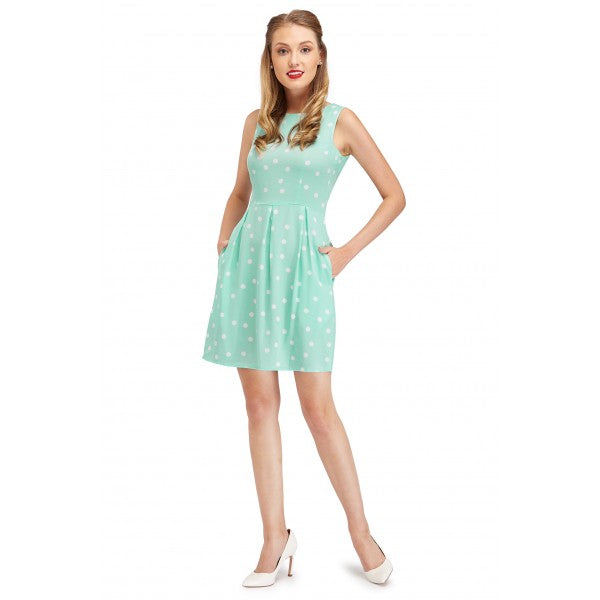 Joan Vintage Polka Dot Dress in Cyan/Cream