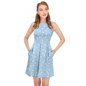 Joan Vintage Polka Dot Dress in Pale Blue/Cream