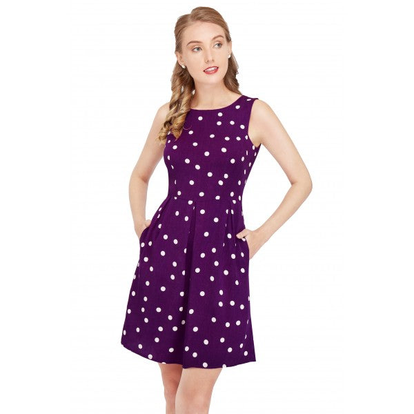 Joan Vintage Polka Dot Dress in Purple/Cream