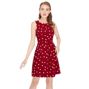 Joan Giant Polka Dots with Burgundy Dress with Pockets