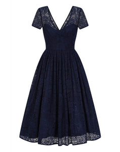 Nina Lace Swing Dress Navy