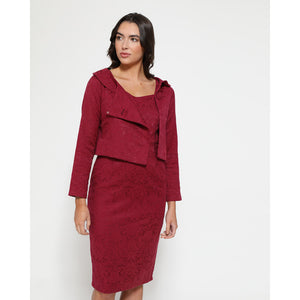 Opal Cerise Pencil Dress and Jacket Twin Set