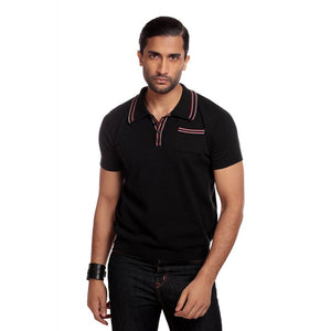 PABLO PLAIN KNITTED POLO SHIRT BLACK