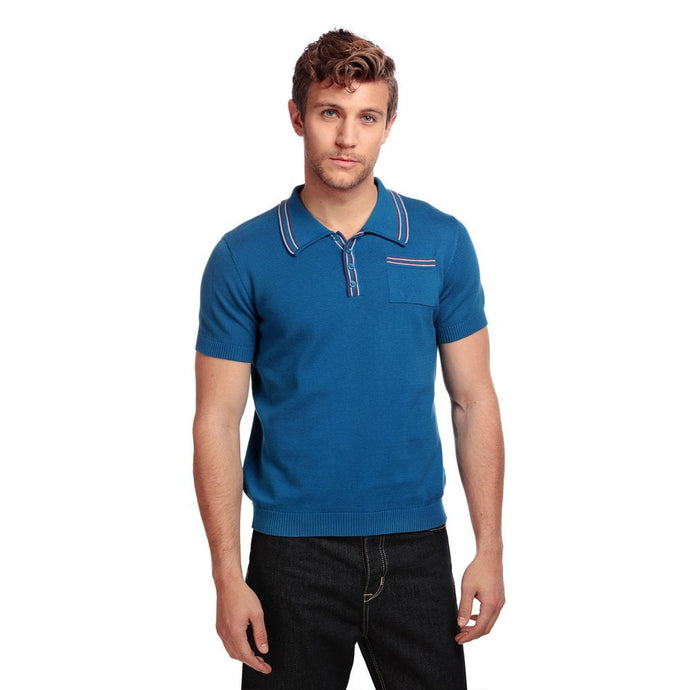 PABLO PLAIN KNITTED POLO SHIRT BLUE