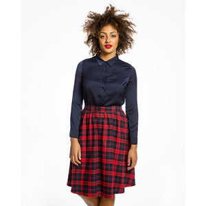 Pryia Red Navy Check Swing Skirt