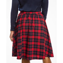 Load image into Gallery viewer, Pryia Red Navy Check Swing Skirt