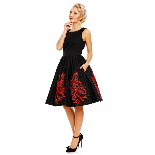 Annie Retro Embroidered Floral Swing Dress in Black/Red