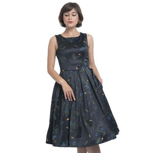 Annie Retro Inspired Leaf Print Dress in Navy