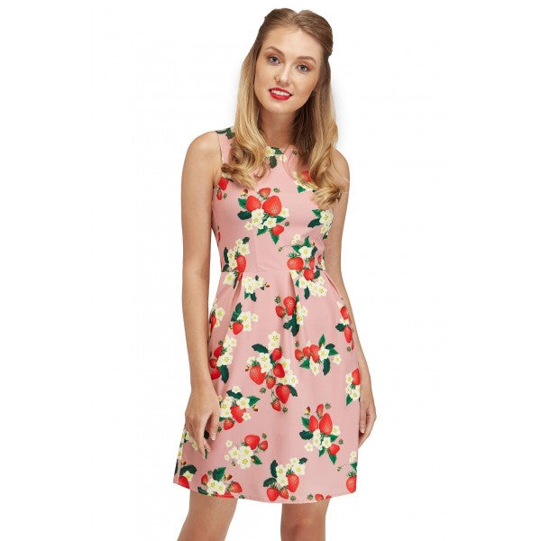 Joan Pink Strawberries Summer Dress