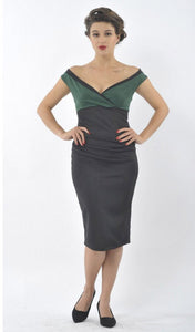 Isabella Off-the-shoulder Step In Wiggle Dress Green & Black
