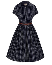 Load image into Gallery viewer, Tally Navy Polka Dot Tea Dress