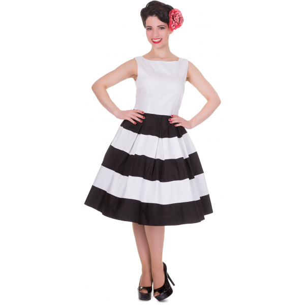 Anna Stripe Retro Rockabilly Swing Dress in White/Black