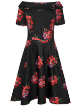 Load image into Gallery viewer, Darlene Retro Red Tulip Swing Dress in Black
