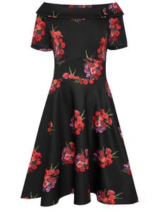 Darlene Retro Red Tulip Swing Dress in Black